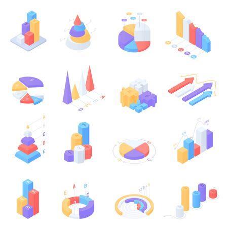 Kolorowa infografika izometryczna do prezentacji biznesowej. Wektor zestaw infografik z diagramami statystyk, wykresami ikon danych, grafiką i elementami projektu. Szablon banera i strony internetowej Ilustracje wektorowe