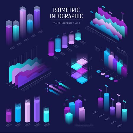 Futuristic isometric infographic for your business presentation. Vector set of infographics with statistics diagrams, data icons charts, graphics and design elements. Template for banner and website Illustration