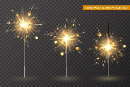 Christmas bengal lights set. Different stages of sparkler burning. Golden vector elements and light effects on transparent background. Template for holiday cards, banners and illustration.