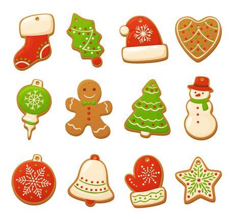 Biscuits de pain d'épice de dessin animé pour la conception de célébration. Éléments vectoriels de Noël pour illustration, cartes, bannières et arrière-plans de vacances. Délicieux biscuits faits maison. Décorations festives Vecteurs