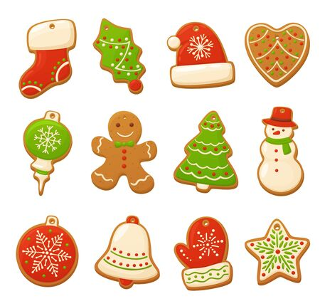 Cartoon gingerbread cookies for celebration design. Christmas vector elements for illustration, cards, banners and holiday backgrounds. Delicious homemade cookies. Festive decorations Ilustracje wektorowe
