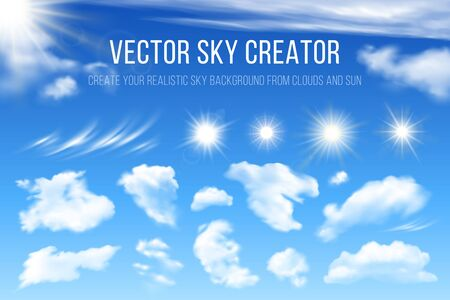 Sky creator. Realistic set of clouds and sun. Vector design elements for creating sky cards, poster or banners. 스톡 콘텐츠 - 140040618
