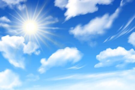Blue sky background with white clouds and sun. Realstic cloudy effect. Vector poster