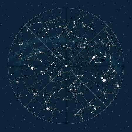 Nördliche Hemisphäre. Hochdetaillierte Sternkarte von Vektorkonstellationen. Astrologische Himmelskarte mit Symbolen und Tierkreiszeichen