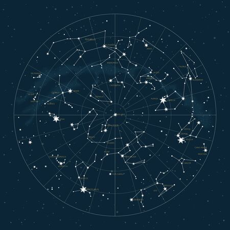 Northern hemisphere. High detailed star map of vector constellations. Astrological celestial map with symbols and signs of zodiac 写真素材 - 143118473