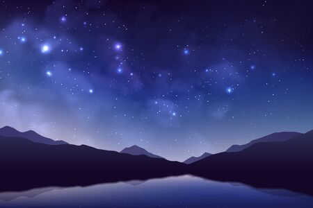 Cosmos background with realistic stardust, nebula, shining stars, mountains and lake. Colorful galaxy backdrop. Space vector illustration. Starry night, infinite universe, milky way.