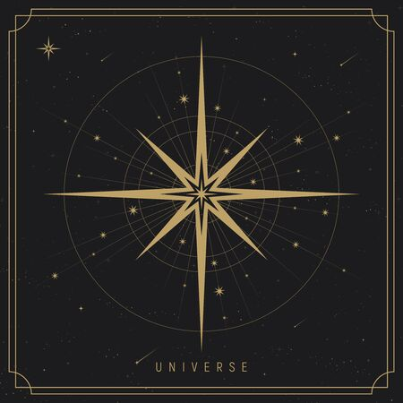Cosmos vector background with gold stars. Galaxy print. Esoteric or mystic style. Astronomy poster
