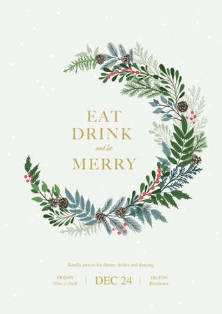 Christmas frame with holly berries, pine and fir branches, cones, rowan berries. Xmas and happy new year invitation. Vector illustration, party design template Illustration