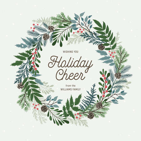 Christmas wreath with holly berries, mistletoe, pine and fir branches, cones, rowan berries. Xmas and happy new year postcard. Vector illustration, holiday invitation