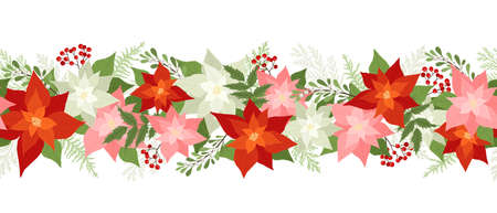 Seamless Christmas border with poinsettias, holly berries, rowan berries, winter plants, pine branches. Xmas vector illustration, holiday pattern