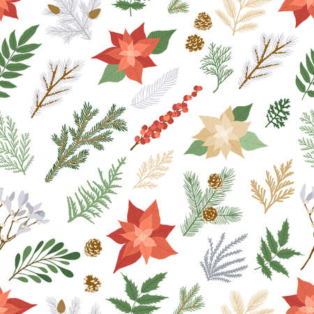 Christmas seamless pattern with plants and flowers. Vector card with poinsettia, holly berries, fir and pine branches, cones, rowan. Seamless background for holiday illustration design.