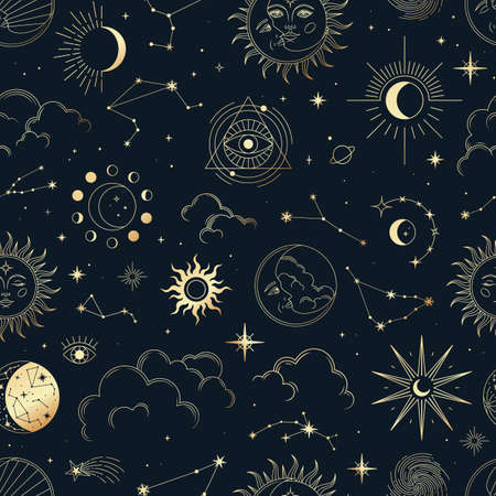Vector magic seamless pattern with constellations, sun, moon, magic eyes, clouds and stars. Mystical esoteric background for design of fabric, packaging, astrology, phone case, yoga mat, notebook covers, wrapping paper. Vettoriali