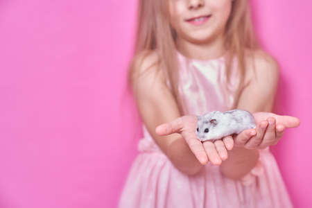 A beautiful girl in a soft pink dress holds a Dzungarian hamster in her hands and smiles on a pink background