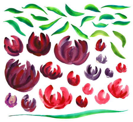 Watercolor illustration is drawn by hand. Set of leaves and red-violet flowers Bright illustration.