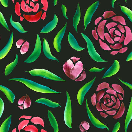 Floral pattern of leaves and flowers on a green background. Watercolor hand-drawn illustration of red-pink flowers and green leaves. Blank for your design. Banque d'images