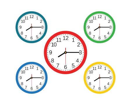 Clock ilustration icon Vector template Illustration Векторная Иллюстрация