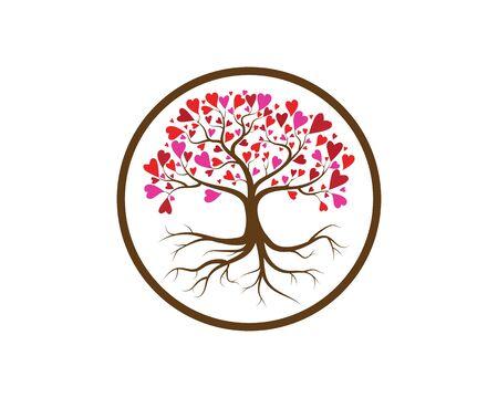 Love tree with heart leaves vector illustration Stock Illustratie