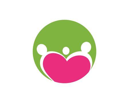 family care love logo template illustration design
