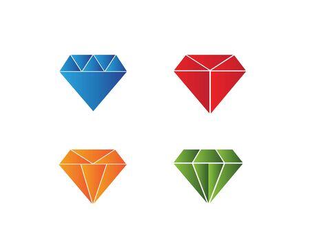 Diseño de ilustración de icono de vector de plantilla de logotipo de diamante Logos