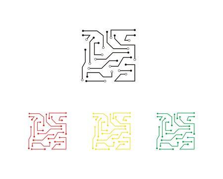 Circuit illustration design vecteur symbole logo technologie