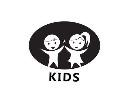 kids play logo design vector template