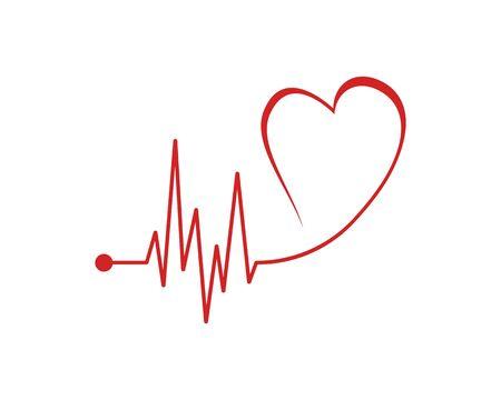Diseño de arte plantilla de vector de pulso de latido del corazón médico de salud Ilustración de vector