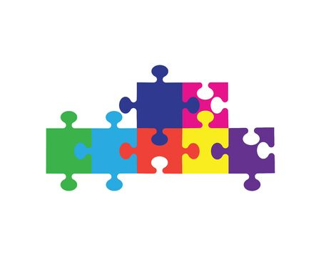Puzzle logo vector icon illustration