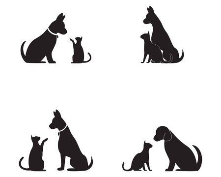 Kat en hond vector silhouetten logo sjabloon Logo