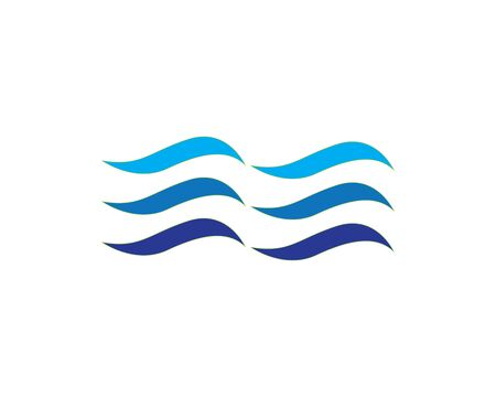 Water Wave Icon Logo Template Vector Logo with yellow sun and blue sea waves. Vector logotype 일러스트
