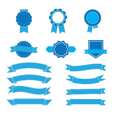 set of blue ribbons and labels.vector illustration Ilustrace