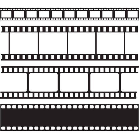 Colección de tiras de película y sellos, vector de ilustración