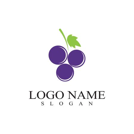 Grapes template vector icon illustration design