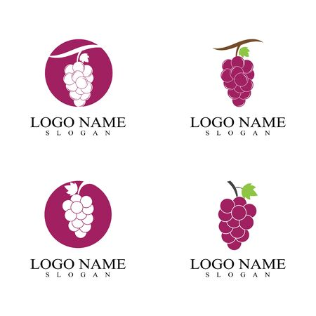 Set of grapes template vector icon illustration design