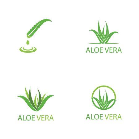 Set Of Aloe vera logo vector illustration template