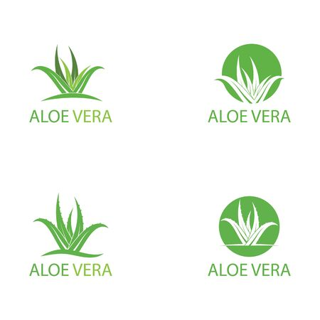 Set Of Aloe vera logo vector illustration template