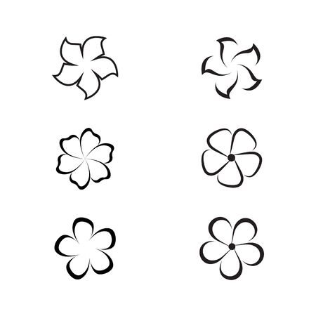 Set Of Beauty plumeria icon flowers design illustration Template