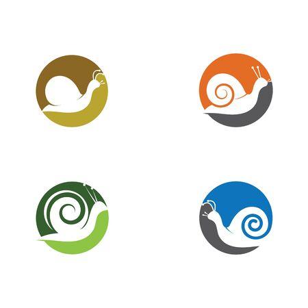 set of snail logo template vector icon illustration design