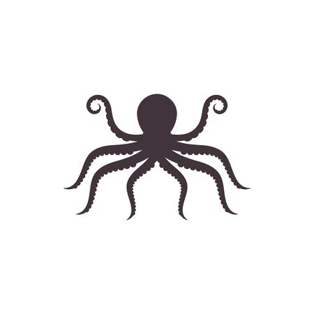 Silhouette Octopus vector template. Octopus vector illustration