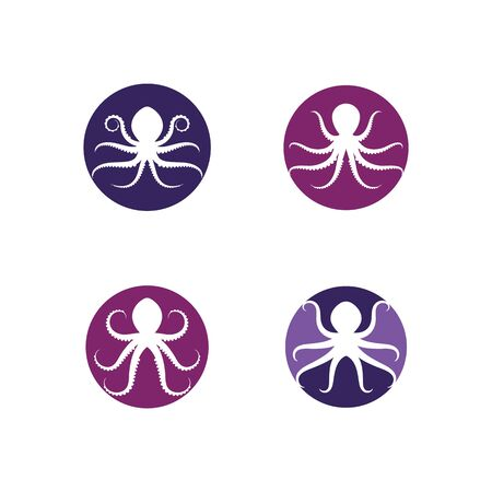 Set Of Silhouette Octopus vector template. Octopus vector illustration Illustration