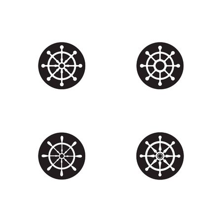 Set of Steering ship symbol vector icon illustration