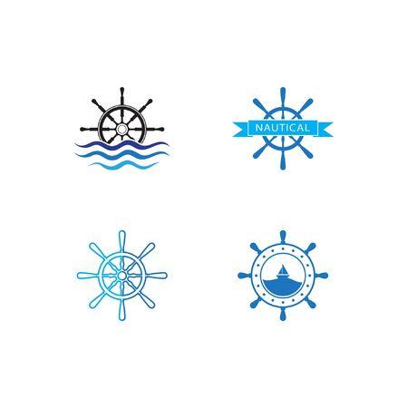 Set of Ship wheel steering symbol vector icon illustration