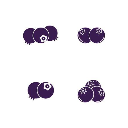 Blueberry logo vector template icon illustration design