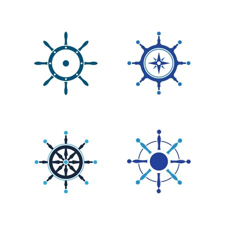 Set of Ship wheel steering symbol vector icon illustration
