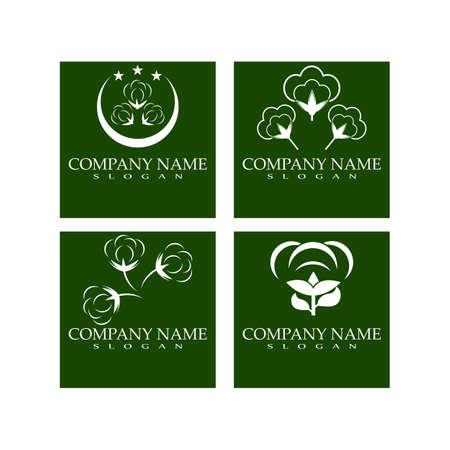 Set Cotton flower vector icon template symbol nature Vettoriali