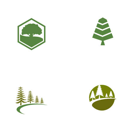 Set Cedar tree vector icon illustration design template