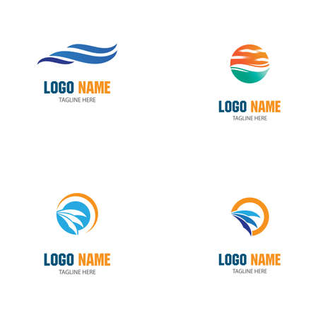 Set Waves Logo Template vector symbol nature