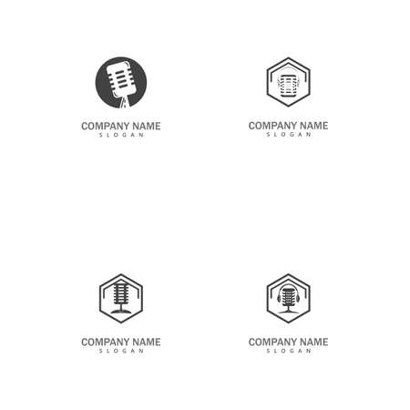 Set Podcast Vector icon design illustration Template