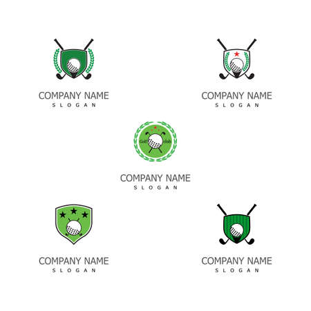 Set Golf Logo Template vector illustration icon design