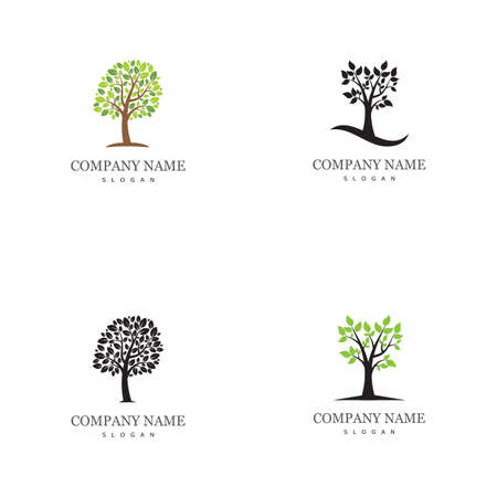 Set Tree icon concept of a stylized tree with letter