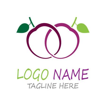 Plum logo vector icon design template
